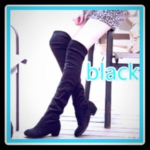 Shoes - Faux Suede Thigh High Boots